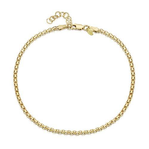Gold Plated on Fine 925 Sterling Silver 2.2 mm Adjustable Anklet - Bismark Chain Ankle Bracelet - 9' to 10' inch - Flexible Fit
