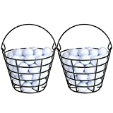 10L0L Metal Golf Ball Basket with Handle, Golf Ball Bucket 2 Pack