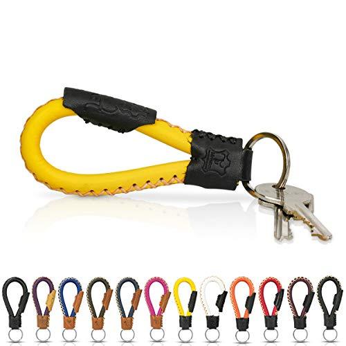 Tumatsch-Leder© Fair-Trade Schlüsselanhänger aus Echt-Leder in Handarbeit hergestellt. Schlüsselband/Lanyard - Bangkok in vielen Farben, Unisex für Damen & Herren (Gelb & Schwarz)