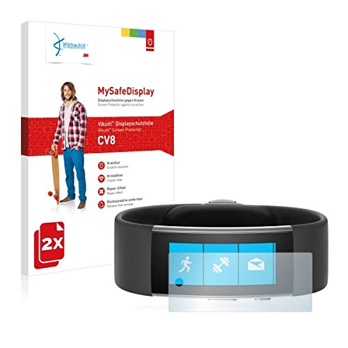 2x Vikuiti MySafeBildschirm CV8 Bildschirmschutz Schutzfolie für Microsoft Band 2 (Ultraklar, strak haftend, versiegelt Kratzer)