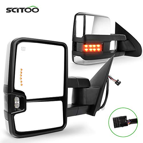 SCITOO Towing Mirror fit 2014-2017 for Chevy Silverado/for GMC Sierra 1500 2015-2017 for Chevy Silverado/for GMC Sierra2500 HD 3500HD Power Heated Signal Light Side Pair Mirrors