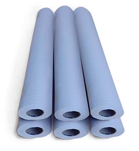 Papel camilla ECOLÓGICO color AZUL CIELO. Caja con 6 Rollos, medidas: 0'59 x 75 metros, 1'5 kg. Sin precorte. Oblite