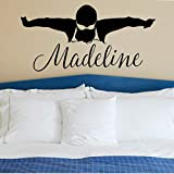 Girls Personalized Swimming Decal, Swimmer Gifts for Teens, Swim Vinyl Stickers, Over 30 Colors