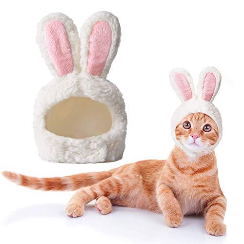 BERYLX Osterkostüm für Katzen, lustiges Katzenoutfit, einstellbare Größe, Häschenkostüm für Katzen und Welpen, Hasenohren für Oster-Cosplay
