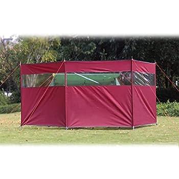 koncy Paravent Plage, Brise-Vent de Camping Pliable, Paravent Camping Car avec Fenêtre 1.3m*4.4m, Windbreak Exterieur pour Jardin Pique-Nique Barbecue Feu de Joie (Color : Red)