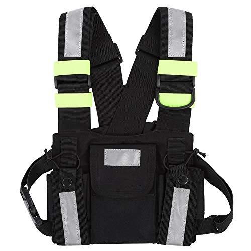 Diyeeni Two Way Radio Brusttasche mit Fluoreszierenden Reflexstreifen, Nylon Chest Bag mit Reißverschlusstasche für BaoFeng UV-5R / 82 / 9R / XR TYT TH-UV8000D/MD-380 Walkie Talkie