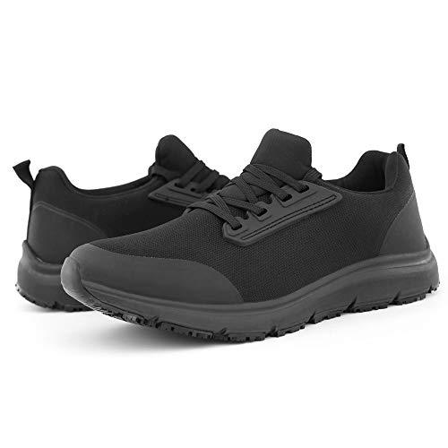 Hawkwell Women's Slip Resistant Food Service Work Shoes,Black Knit,9.5 M US