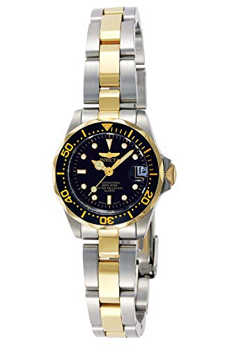 Invicta Women's Pro Diver 24.5mm Steel and Gold Tone Stainless Steel Quartz Watch, Two Tone/Black (Model: 8941)