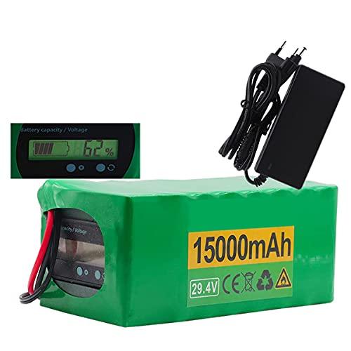FJYDM Batería De Iones De Litio 29.4V 15Ah Batería De Bicicleta Eléctrica con Cargador, Baterías De Litio De Bicicleta Eléctrica para 500W 350W 250W Motor,T