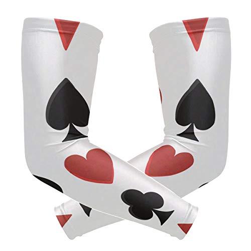 Lupinz Poker-Karten Spaten und Herz-Muster, Kompressionsarmband, UV-Schutz, Kühlung, Sonnenblock für Outdoor-Sportarten, 1 Paar