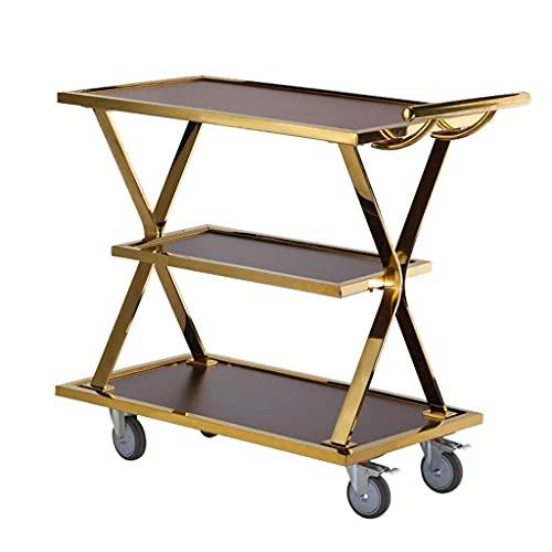 Carro de cocina de acero inoxidable con rueda Carro de salón de belleza Almacenamiento de 3 niveles Carretilla para bebidas de limpieza para el hogar Sala de estar Metal y vidrio templado