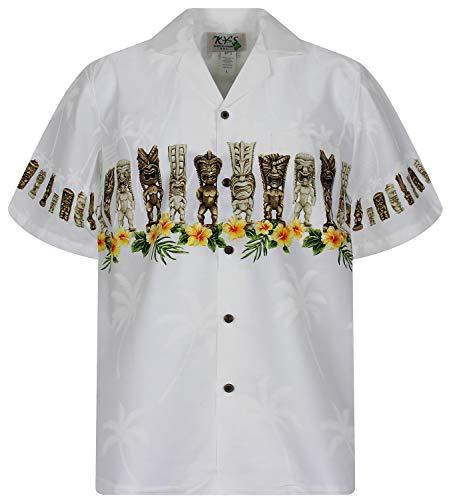 KY´s Original Camisa Hawaiana, Totem Chest Pressure, blanco M