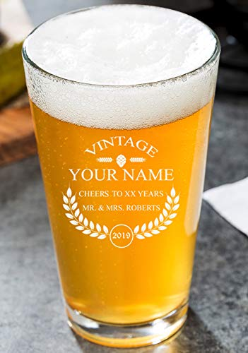 PersonalizedBeer Glass - Custom Engraved Beer Mug, Pint Glass, Pilsner Glass, Pitcher.   Add your own Engraved Text - Vintage Design (Pint Glass 16oz)