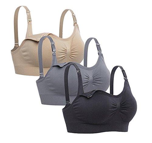 Cimary Sujetador de maternidad para mujeres Bra sin costuras (4Pack) (S/M, 3 piezas (gris + negro+ beige))