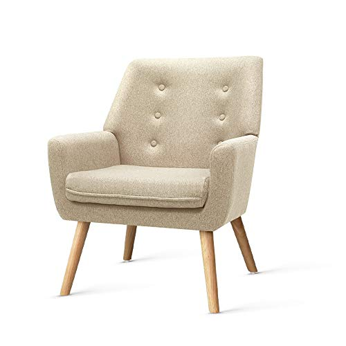 Artiss Armchair Fabric Wooden Lounge Sofa Chair Beige