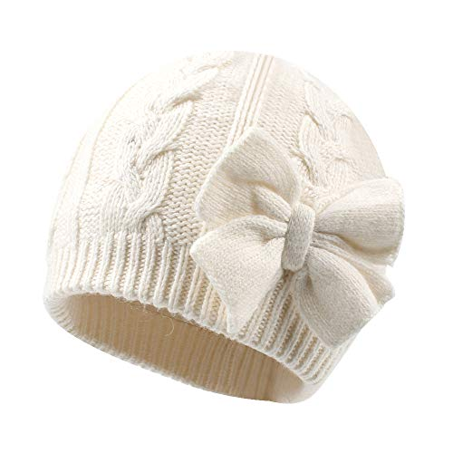 Winter Warm Knitted Baby Hat for Girls Cotton Lined Infant Toddler Girls Hat Autumn Cute Bow Classic Girls Beanie 0-6Y(S,White)