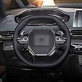 MDHANBK Couvre Volant de Voiture en Cuir Cousu à la Main, pour Peugeot 3008 4008 5008 2016-2019 508208 2019 2020
