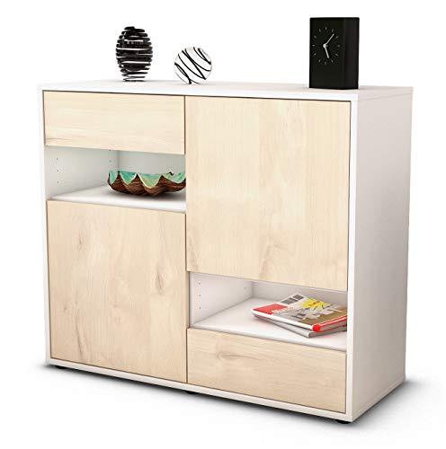 Stil.Zeit Sideboard Carmelina/Korpus Weiss matt/Front Holz-Design Zeder (92x79x35cm) Push-to-Open Technik & Leichtlaufschienen