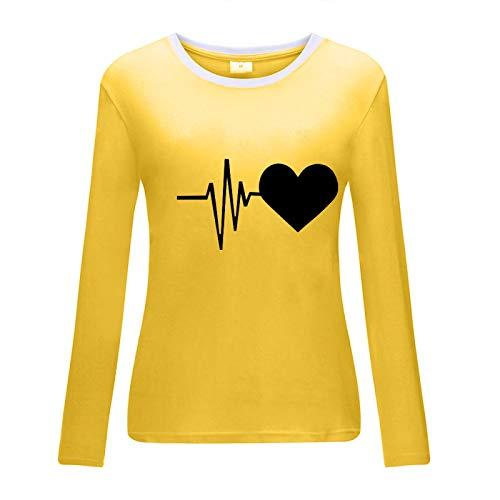 HOSD T-Shirt Girocollo Stampata Moda Manica Lunga Girocollo Bianca