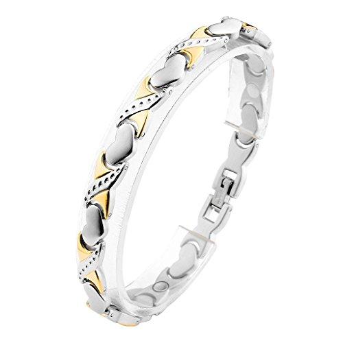 Jovivi Damen Magnetarmband Edelstahl Magnetisch Therapie Armreif 4-in-1 Magnete Armband Herz Armrief Silber+Gold