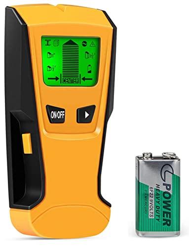 Flybiz Detector de Pared Encontrar Stud Finder con 3-en-1 Metal AC Alambres Escáner de Madera con Pantalla LCD Retroiluminada, Para Detecta AC Cable, Metal Tuberías, Madera En La Pared Cemento