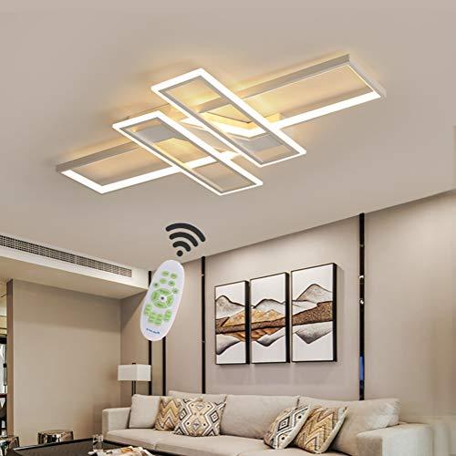 LED Deckenleuchte Wohnzimmer lampen Dimmbar Deckenlampe Hängeleuchte Modern Platz Chic Decke Leuchen Metall Acryl mit Fernbedienung Innen Schlafzimmer Esszimmer Esstisch Deckenbeleuchtung (Weiß)