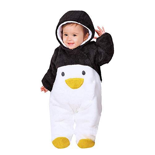 Mbby Pagliaccetto Neonato Invernale, 0-12 Mesi Unisex Pagliaccetti con Cappuccio E Pulsante Pigiama in Velluto Manica Lunga Caldo Addensare Tutina Fumetto Outfits (6-9Mesi, Pinguino-Nero)