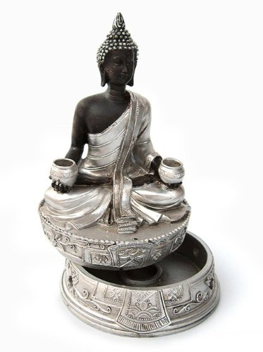 Räucherdose Kegelhalter Buddha Deko Figur sitzend 15 cm, Polystein schwarzbraun silber Dose Räucherkegel Räucherwerk