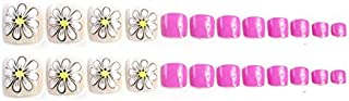 TBOP FAKE NAIL art reusable French long Artifical False Toenails 24 pcs set flower in Pink and Beige color