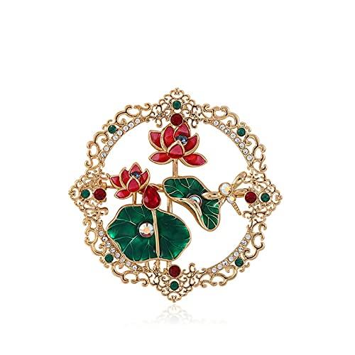 hongbanlemp Broches Elegantes broches de Loto para Las Mujeres de Lujo de Estilo Vintage Broche Ropa Bufanda Accesorios de decoración de Chal - Regalo Ideal para su ser Querido Mujer Broche
