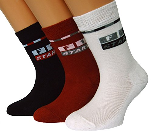Shimasocks Kinder Socken Motiv Formel 1 Dreierpack, Farben alle:mehrfarbig, Größe:35/38 bzw. 134/146
