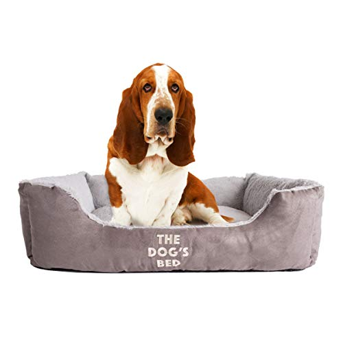 The Dog's Bed, Premium Plush Dog Beds in Grey, Brown & Biscuit M/L/XL, Fully Washable, Extremely Soft & Comfortable – The Ultimate in Pet Luxury