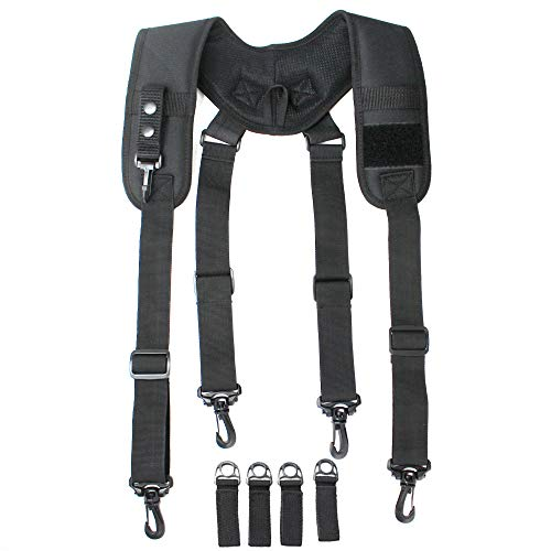 MeloTough Tactical Duty Belt Harness Padded Adjustable Tool Belt Suspenders with Key Chin and Velcro Patch, Black, one Size fit All