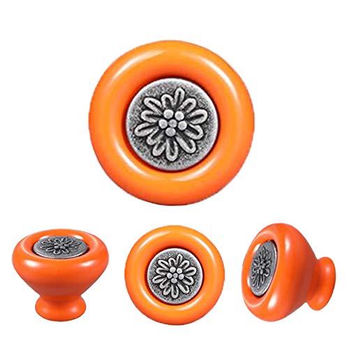 4 Pezzi Pomelli per porta in Ceramica,Diametro 40mm,Per Porta,Cassetto,Armadi e Mobilia-Arancione