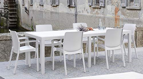 Dmora Rectangular extendable Outdoor Table, White