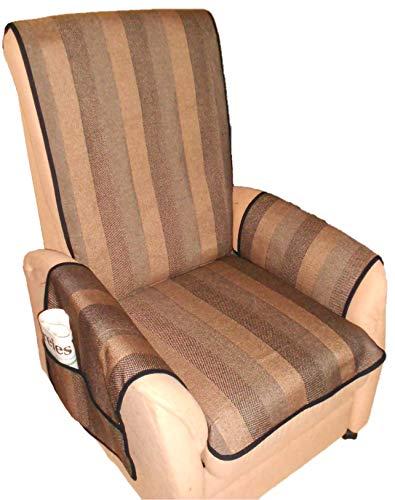Holzdrehteile Sesselschoner Sesselauflage Sesselbezug Schoner Überwurf Auflage braun gestreift