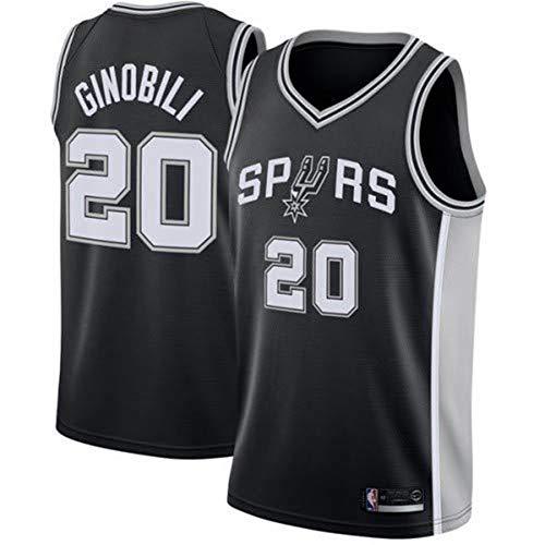 Gflyme Herren Trikot NBA Manu Ginobili, San Antonio Spurs # 20 Jersey Weste Weste, Sportswear Style Gym (Color : Black, Size : XXL)