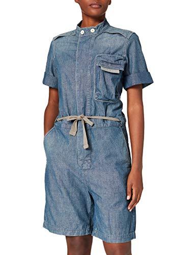 G-STAR RAW Contrast Zipper Blouse Playsuit Mono Largo, Antic Faded Aegean C611-c244-Figura Decorativa (Pintada En Azul), L para Mujer