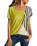 Yoins - Camicia da donna a maniche corte, con colori a contrasto e spalle scoperte, motivo geometrico, stile casual, blusa, camicetta Short Sleeve-yellow-01 36