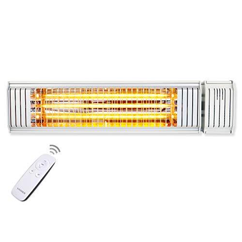 Emetteur chauffant infrarouge de VASNER Appino 20 White – radiateur pour terrasses – panneau radiant infrarouge – télécommande et commande par application - 2000 Watt