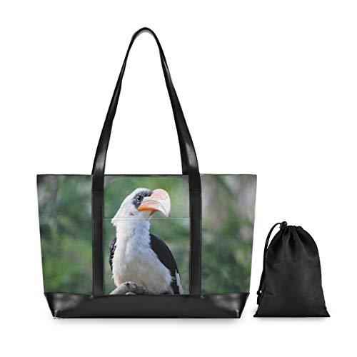 FANTAZIO Hornbill Bilder-Laptop-Tasche für 39,6 cm (15,6 Zoll) Laptop, leichte Canvas-Tasche, Schultertasche