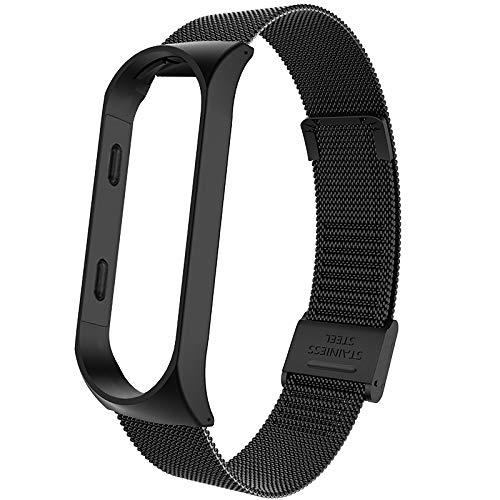 ZAALFC Correa de metal para Xiaomi Mi Band 4, correa de reloj inteligente para Xiaomi Miband 3, correa de repuesto transpirable (color: negro, tamaño: para mi band 3)