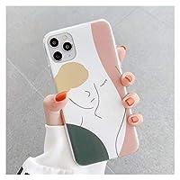 抽象的なジオメトリアートスケッチ電話ケースiphone 11 12 Pro Max Mini 8 7 Plus XR X XSマックスかわいいパターンソフトTPUバックカバー (Color : 4, Material : For iphone 8Plus)