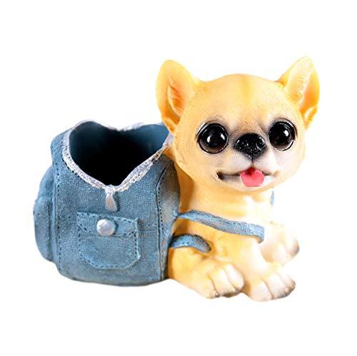[クイーンビー] ミニチュア 犬 ペンスタンド ペン 立て かわいい おしゃれ 小さい 卓上 収納 ケース インテリア デスク アクセサリー 文具 文房具 鉛筆 事務用品 プレゼント (F)