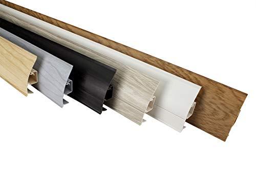 LEMAL Sockelleisten Musterstücke, PVC 65x23mm - Fußleisten mit Kabelkanal - (8629 Holzoptik Eiche rot) Vinylboden Wandabschlussleisten