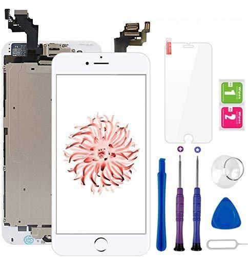 Display per iPhone 6 Plus Schermo LCD Touch Screen Vetro 5,5 Digitizer Parti di Ricambio (con Home Pulsante, Fotocamera, Sensore Flex) Kit Smontaggio trasformazione Completo di Ricambio