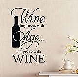 Cocina El vino mejora la edad Botella Bar Pub Cotizaciones Etiqueta de la pared...