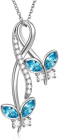 AOBOCO Sterling Silver Infinity Butterfly Pendant Necklace for Women Simulated Aquamarine Birthstone product image