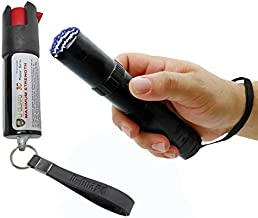 Self-Defense Weapons Kit - Taser Pepper Spray Combo - Tactical Stun Gun With Pocket Pepper Spray Non Lethal Personal Protection Devices – Police Tazors Color Option High Lumen Flashlight Tazer (BLACK)