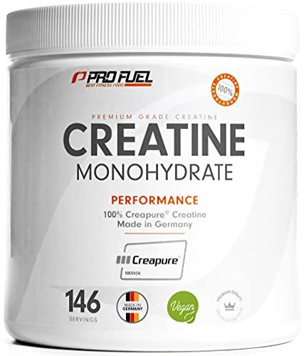 ProFuel Creatin Monohydrat Pulver (100% Creapure®, dem Premium Creatin aus Deutschland), 500g   Extra hochdosiert für Fitness & Kraftsport   Hochwertiges Kreatin made in Germany, 100% vegan KRAFTSCHUB